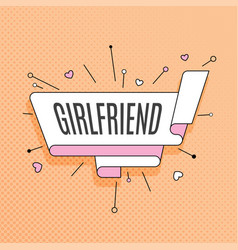 girlfriend retro design element in pop art style vector image