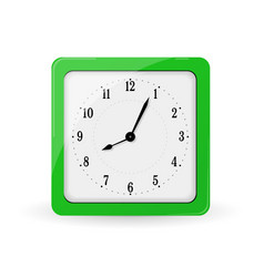 Green square alarm clock vector