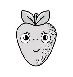 Hand drawn kawaii nice surprised strawberry icon vector