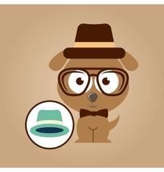 hipster dog symbol hat design vintage background vector image