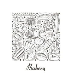 isolated square of bakery products vector image