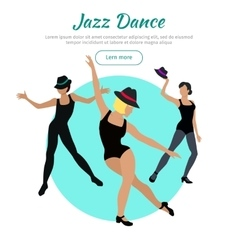 Jazz dance conceptual flat style web banner vector