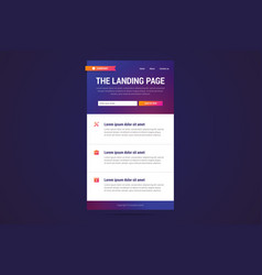 Landing page design in modern gradient style vector