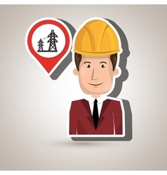 man with tower energy isolated icon design vector image
