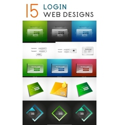 mega set of login web design elements vector image