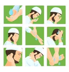 Muslim ablution purification guide step by step vector