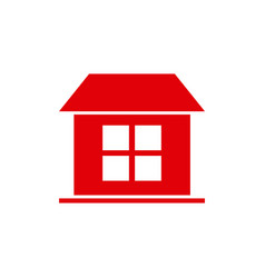 Red silhouette simple facade house one room vector