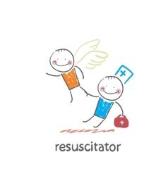 Resuscitator keeps flying away into the sky vector