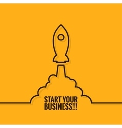 Rocket launch logo business start background vector