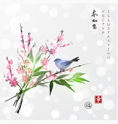 sakura in blossom bamboo branch and little bird vector image
