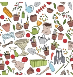 Seamless pattern with gardening tools flower pots vector