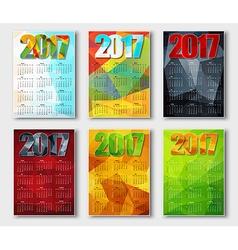 Set polygonal calendar 2017 vector