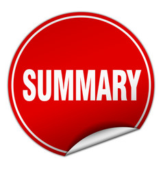 Summary round red sticker isolated on white vector