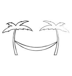 Tree palm beach with hammock vector