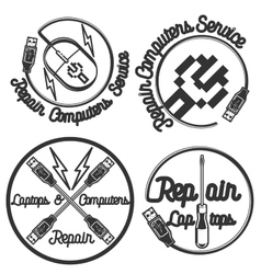 Vintage repair computers and laptops emblems vector image vector image