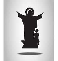 Virgin mary statue silhouettes on the white backgr vector