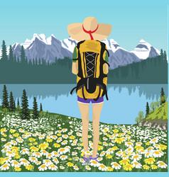 woman traveler looking at mountain lake in summer vector image