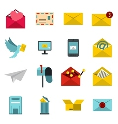 Email icons set flat ctyle vector