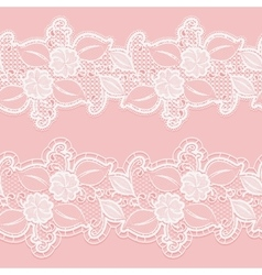 Seamless white lace border on a pink background vector image