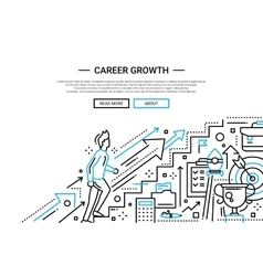 Career Growth line flat design website banner vector image