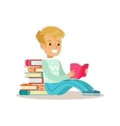 Boy sitting with his back against pile of books vector