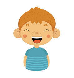 Laughing out loud cute small boy with big ears in vector