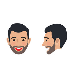 laughing man face from two sides flat icon vector image