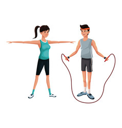 Couple gym sport athlete image vector