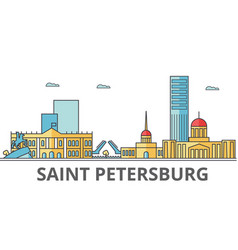 saint petersburg city skyline buildings streets vector image