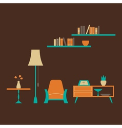 Furniture set over brown vector