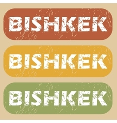 Vintage bishkek stamp set vector