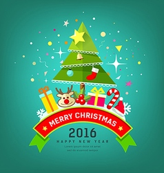 Merry christmas tree and happy new year design vector