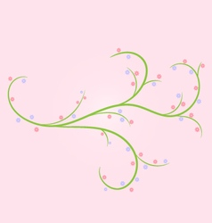 Abstract green twig with flowers vector
