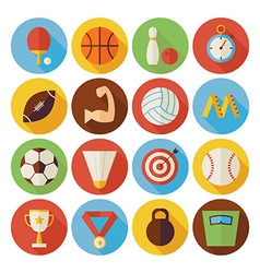 Flat sport recreation and competition circle icons vector
