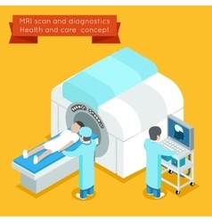Mri process 3d isometric health and care vector