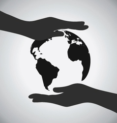 Black Earth On Hands Icon Save The Earth Concept vector image