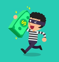 Cartoon a thief carrying big money stack vector
