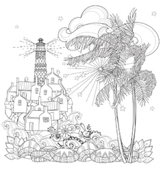 Hand drawn doodle outline palm tree vector image