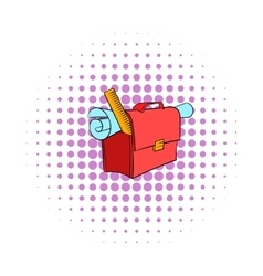 School briefcase bag with stationery icon vector