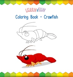 Crawfish coloring book educational game vector