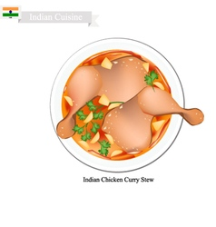 Indian chicken curry famous dish in india vector