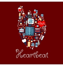 Human heart made of medical equipments icons vector