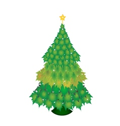 A christmas tree of green maple leaves vector