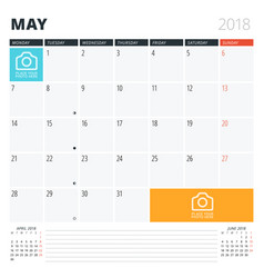 Calendar planner for may 2018 print design vector