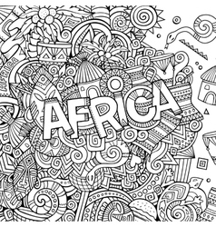 Cartoon cute doodles hand drawn african vector