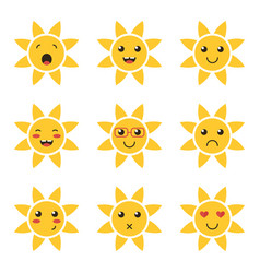 Cartoon cute sun character emoji vector
