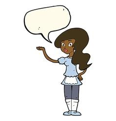 Cartoon waitress with speech bubble vector