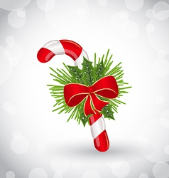 Christmas decoration with sweet cane bow and pine vector image