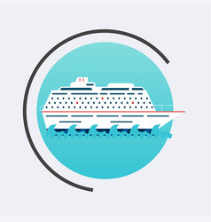 Cruise ship icon travel concept background flat vector