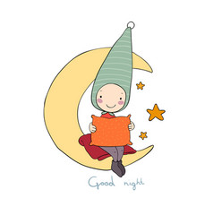 cute gnome on the moon pillow and blanket for vector image vector image